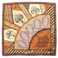 カレ90 シルクスカーフ GEOMETRIE CRETOISE クレタの幾何学 ブラウン