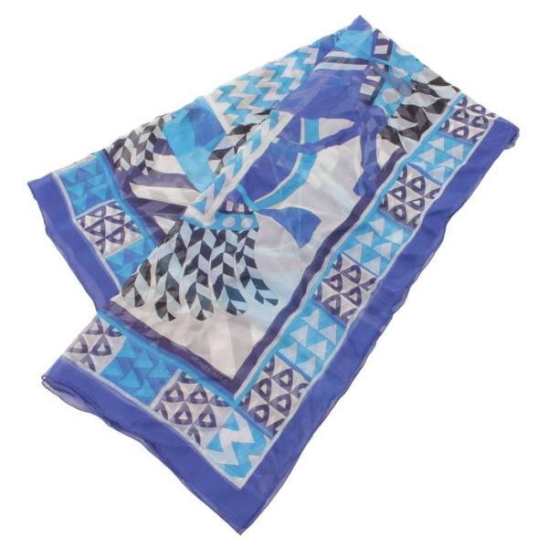 カレ140 シルク シフォン 大判スカーフ CHEVAUX DE KARNAK カルナック神殿の馬 ブルー