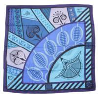 カレ140 カシミヤ シルク 大判スカーフ GEOMETRIE CRETOISE クレタの幾何学 ブルー