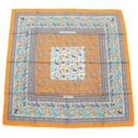 カレ90 シルクスカーフ CHASSE EN INDE インドの狩猟 オレンジ