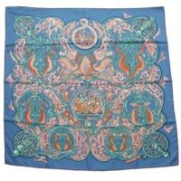 カレ90 シルクスカーフ La Charmante aux Animaux 動物の楽園 ブルー