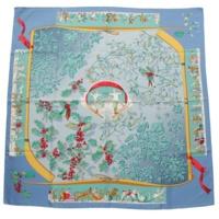 カレ90 シルクスカーフ Neige d'Antan 去年の冬 ブルー