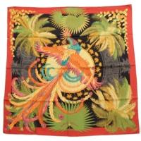 カレ90 シルクスカーフ Mythiques Phoenix 不死鳥の神話 ブラック レッド