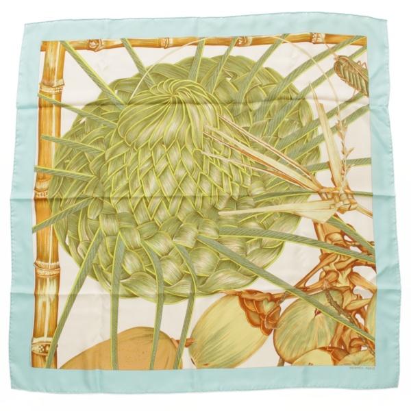 カレ90 シルクスカーフ Jardin Creole detail クレオルの楽園