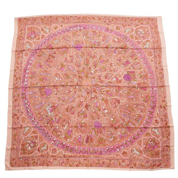 カレ140 シルクスカーフ 古代インド民族柄 ピンク