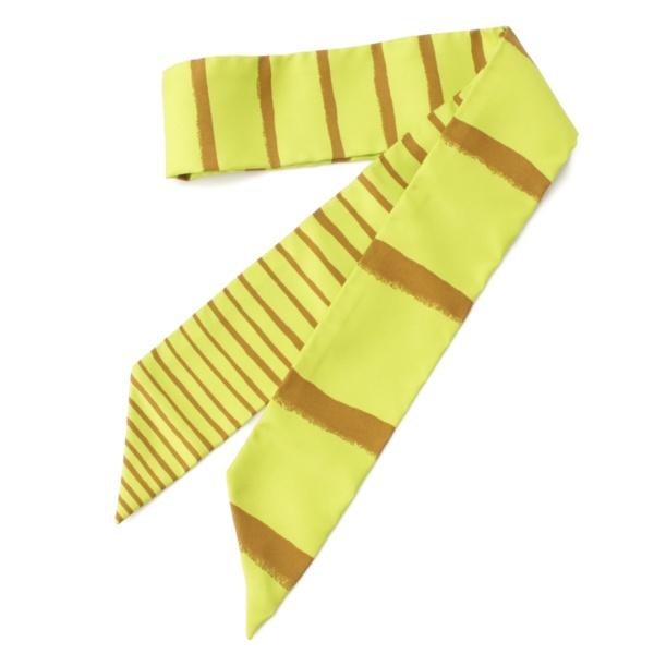 ツイリー シルク スカーフ ストライプ グリーン×ブラウン