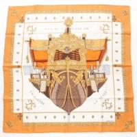 カレ90 シルクスカーフ VUE DU CARROSSE DE LA GALERE LA REALE クイーンの戴冠式