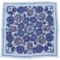 カレ45 シルクスカーフ ポケットチーフ NAMASTE ナマステ ブルー