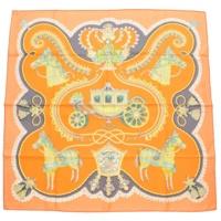 カレ90 シルクスカーフ PAPEROLES パプロール 馬車と貴族 オレンジ