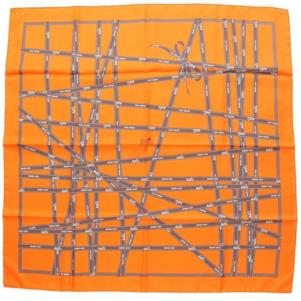 カレ90 シルク スカーフ ボルデュック リボン柄 オレンジ