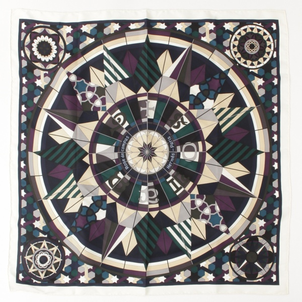 カレ70 シルク スカーフ ROSE DE COMPAS 羅針盤のバラ マルチカラー