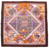 カレ90 シルクスカーフ LE JARDIN DES COPTES コプトの庭 パープル