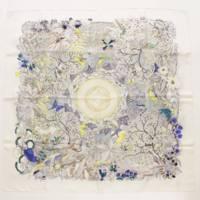 カレ90 シルク スカーフ AU COEUR DE LA VIE 生命の森 マルチカラー