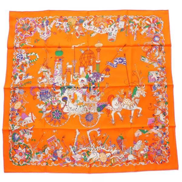 カレ90 スカーフ La Folle Parade オレンジ