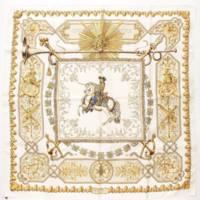 カレ90 シルクスカーフ LVDOVICVS MAGNVS 白い馬に跨ったルイ14世 ベージュ