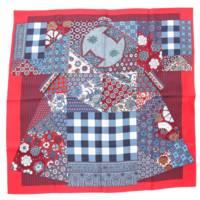 現行品 カレ90 シルクスカーフ L'Art du Sarasa 更紗のアート レッド