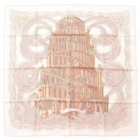 カレ90 シルクスカーフ LES RIVIERES DE BABEL バベルの川 ピンク