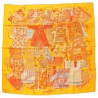 カレ90 シルクスカーフ VOYAGE EN ETOFFES 世界の布地を巡る旅 オレンジ