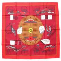 カレ90 シルクスカーフ LES VOITURES A TRANSFORMATION 折畳み式幌の馬車 レッド