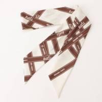 リボン柄 ツイリー シルク スカーフ ホワイト×ブラウン