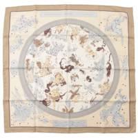 カレ90 シルクスカーフ HEMISPHARIUM COELI BOREALE 星座柄パズル グレー