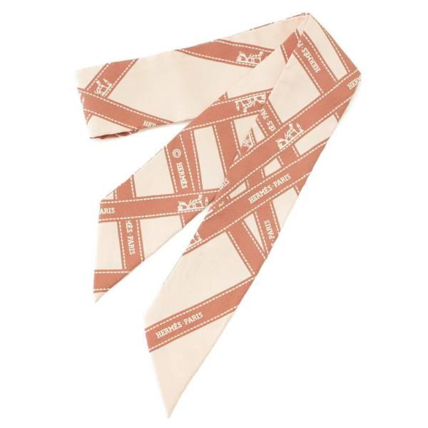 リボン柄 ツイリー シルク スカーフ ピンク