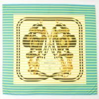 スムーズカレ100 シルクスカーフ BRIDES de GALA ブルー×イエロー