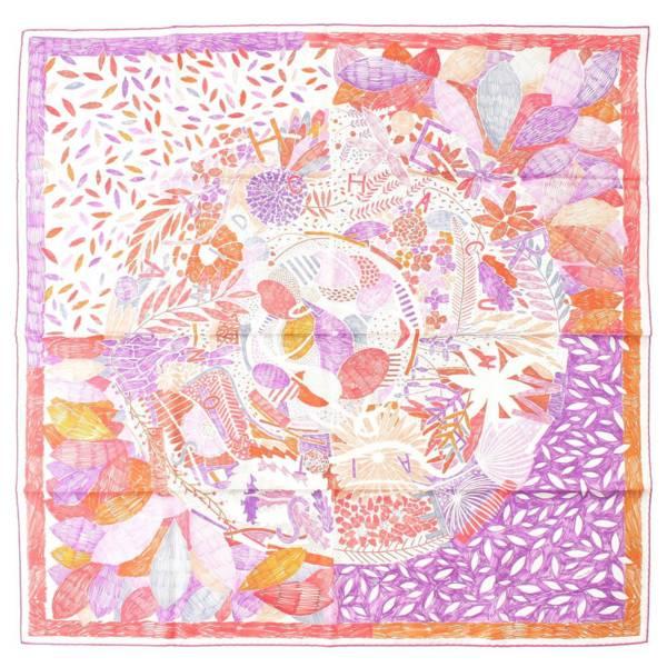 カレ90 スカーフ CHACUN FAIT SON NID それぞれの巣作り パープル