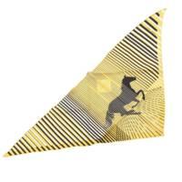 H AU GALOPトライアングル 三角 スカーフ 馬柄 イエロー×ブラック