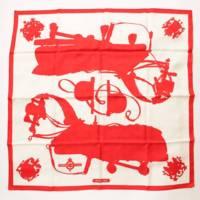カレ90 スカーフ Harnais de Cour 宮廷の馬具 レッド ホワイト