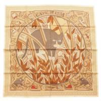 カレ90 シルクスカーフ CAVE FELEM 猫に注意 レア ベージュ