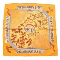カレ45 カシミヤシルクスカーフ neige d'antan ソルド品 ブラウン オレンジ