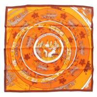 カレ70 シルク スカーフ JEU DES OMNIBUS ET DAMES BLANCHES オムニバスと白い貴婦人のゲーム オレンジ