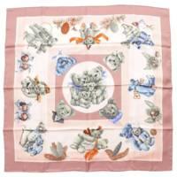 カレ90 シルク スカーフ CONFIDENTS DES COEURS テディベア シルクスカーフ ピンク