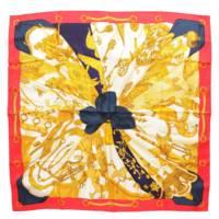 カレ90 シルクスカーフ Soleil de soie シルクの太陽 レッド ゴールド ネイビー