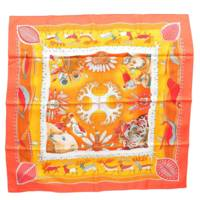 カレ90 シルクスカーフ LA VIE DU GRAND NORD 大きな北の人生 オレンジ