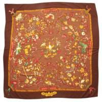 カレ140 カシミヤ シルク スカーフ 東洋の石と西洋の石細工 ブラウン
