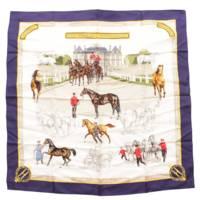 カレ90 シルクスカーフ LES HARAS NATIONAUX 国立種馬飼育場 ネイビー