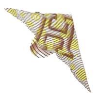 ストライプ Hロゴ シルク スカーフ キャップ 帽子 頭巾 レア イエロー