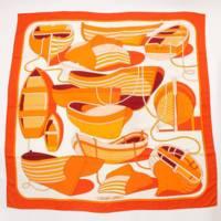 カレ140 カシミヤ シルクスカーフ THALASSA  ボート柄 大判 オレンジ