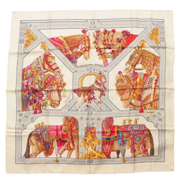 カレ90 シルクスカーフ LA DANSE DU CHEVAL MARWARI マールワーリ馬のダンス ベージュ