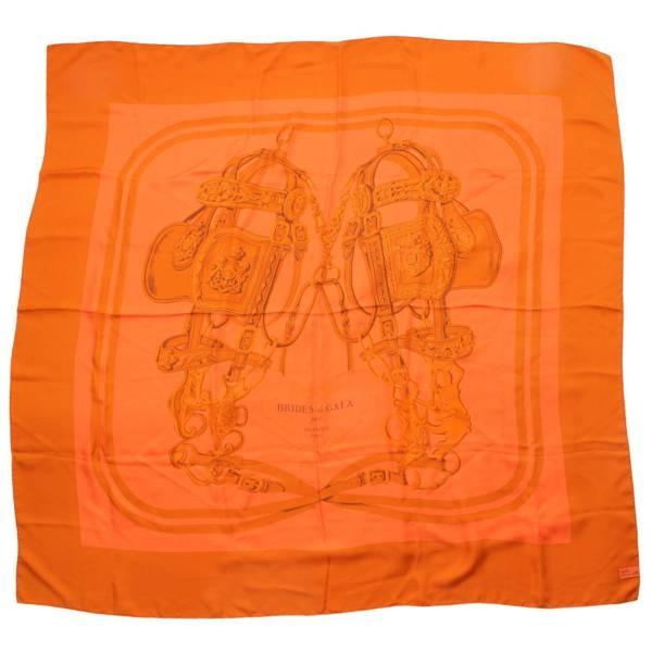 カレ140 ディップダイ シルクスカーフ BRIDES de GALA 式典用馬勒 大判 オレンジ