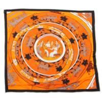 シルクスカーフ JEU DES OMNIBUS ET DAMES BLANCHES オムニバスと白い貴婦人のゲーム オレンジ