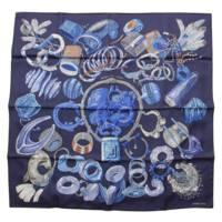 カレ90 シルクスカーフ Bracelets de Lumiere 光のブレスレット ブルー