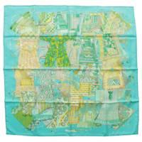 カレ90 シルクスカーフ VOYAGE EN ETOFFES 世界の布地を巡る旅 ブルー