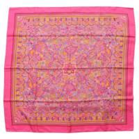 カレ90 シルクスカーフ LES JARDINS D'ARMENIE アルメニアの楽園 ピンク
