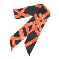 ツイリー シルクスカーフ BOLDUC  ボルデュック リボン柄 ブラック オレンジ