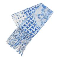 Mosaique au 24 シルクスカーフ フリンジ タッセル ロングストール ブルー×ホワイト