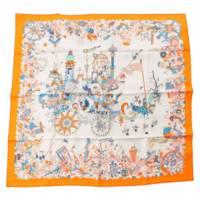 カレ90 シルクスカーフ La Folle Parade ラ・フォル・パレード オレンジ