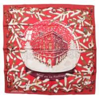 カレ90 シルクスカーフ Noel au 24 Faubourg フォーブル24番地のクリスマス レッド